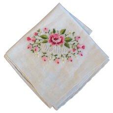 Name Vintage Cotton Embroidered Hankie Handkerchief Debbie