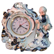 "6.5"" Porcelain China Boy Girl Linden Wind Winding Clock Japan Works"