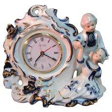 """6.5"""" Porcelain China Boy Girl Linden Wind Winding Clock Japan Works"""