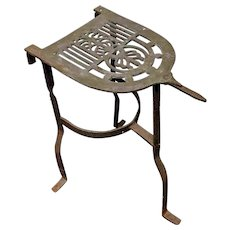 Large Brass Iron Trivet Stand or Kettle Warmer for Sad Iron