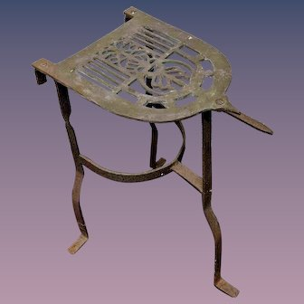 Antique Brass Iron Trivet Stand or Kettle Warmer for Sad Iron