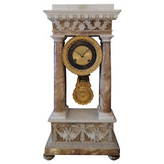 19th Century Antique Charles X Working Alabaster Portico Clock