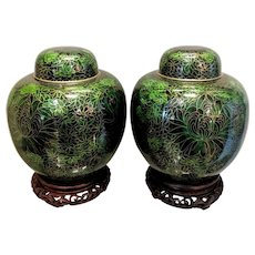 "Pair 9"" Vintage Chinese Deep Green Cloisonne Ginger Jars"
