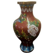 Vintage Cloisonne Vase Rust Red Multicolor Flowers AS IS