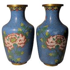 "Pair Vintage 6.5"" Blue Chinese Cloisonne Vases Flowers AS IS"