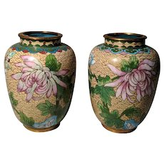 """Pair Vintage 4.5"""" Cream Yellow Chinese Cloisonne Vases Flowers"""