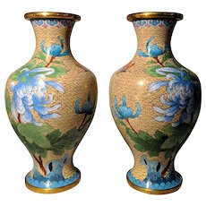 "Pair Vintage 8.25"" Cream Yellow Chinese Cloisonne Vases Flowers"