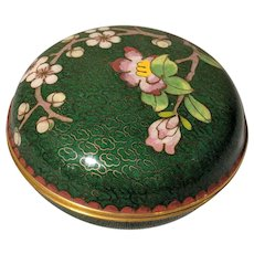 "3"" Vintage Chinese Cloisonne Teal Aqua Round Box"