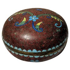 "3"" Vintage Chinese Cloisonne Rust Red Round Box"