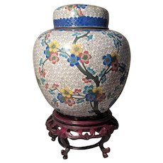 "3"" Vintage Chinese Cloisonne White Floral Ginger Jar Lid Stand"