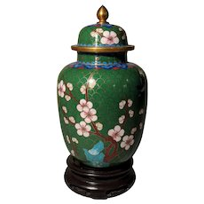 "6.5"" Vintage Chinese Cloisonne Green Ginger Jar Lidded"