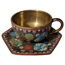 "2.5"" Vintage Chinese Cloisonne Black Multi Flower Cup Saucer"