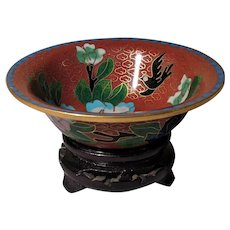 "3"" Vintage Chinese Cloisonne  Rust Red Bowl with Stand"