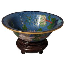 "4"" Vintage Chinese Cloisonne  Teal Bowl with Stand"
