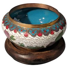 "3"" Vintage Chinese Cloisonne  White Teal Bowl with Stand"