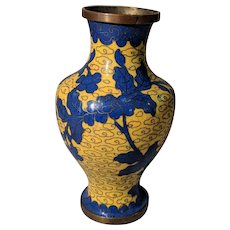 "4.5"" Small Vintage Chinese Cloisonne Yellow Dark Blue Flower Vase"