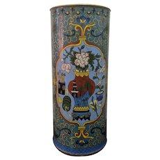 """12"""" Vintage Cylindrical Chinese Cloisonne Vase Ginger Jar Pattern"""