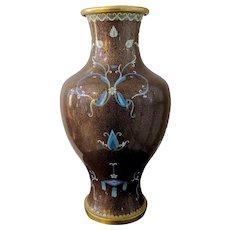 "Unusual 16"" Vintage Chinese Cloisonne Vase Brown Ribbons Bows"