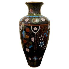 "10"" Antique 19th Century Japanese Goldstone Butterfly Cloisonne Meiji Vase"