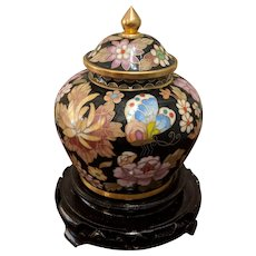 "4.5"" Chinese Cloisonne Lidded Ginger Jar Black Butterflies Stand"