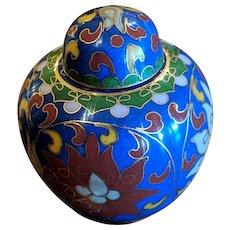 """2"""" Vintage Chinese Cloisonne Blue Lidded Ginger Jar"""