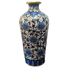 """6.5"""" Vintage Chinese Cloisonne Blue White Flowers"""