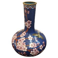 "8""  Chinese Cloisonne  Gourd Shape Vase Blue Cherry Blossoms"