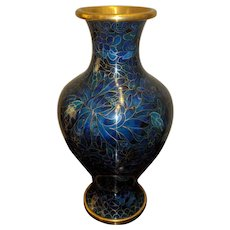 "9.5"" Vintage Chinese Cloisonne Vase Deep Rich Blues"