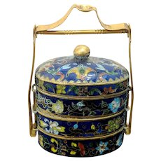 """3.5"""" Vintage Chinese Cloisonne Lidded 3 Tier Pill Lunch Box"""