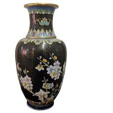 Vintage Chinese Cloisonne Vase Black Flowers Motif