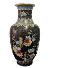 Vintage Chinese Cloisonne Vase Black Flowers Motif Two