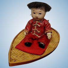 "6"" Vintage Ichimatsu Gofun Japanese Oyster Shell Doll on Cane Wicker Leaf Boat"