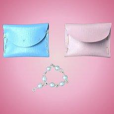 "Pair Purses Pink Blue Pearl Bracelet Jill Other 10"" Fashion Doll"