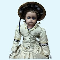 Stunning Antique Wax Over Composition Fashion Doll Walking Dress