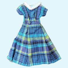 "Cute Blue Plaid Day Dress for Jill Other 10"" Fashion Doll"
