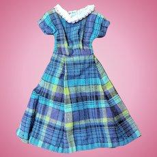 "Cute Blue Plaid Day Dress for Jill Other 10"" Fashion Doll"