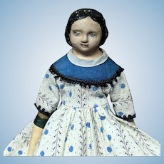 """10.5"""" Covered Wagon Milliners Model Papier Mache Wood Doll"""