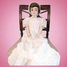 "30"" Brown Eyed Kestner Bisque Doll Original Mohair New Body"