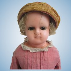 "18"" Antique Wax Over Papier Mache Doll Caracul Wig Original Clothes"