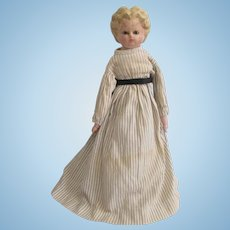 Antique Pumpkin Wax Over Papier Mache Head Doll Original Clothes Blue Boots