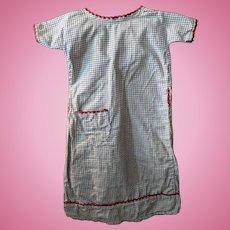 "15"" Homespun Hand Made Check Dress for Papier Mache China Head Doll"