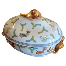 Herend Poisson Porcelain Soup Tureen Undertray Professionally Restored