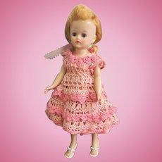 """10"""" Vogue Jill Doll Honey Blonde Pink Crocheted Dress Shoes"""