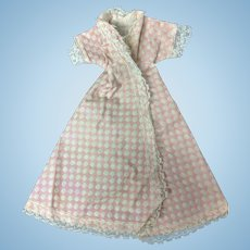 """Jill or other 10"""" Fashion Doll 1950s Pink Polka Dot Cotton Robe"""