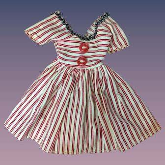 "Jill or other 10"" Fashion Doll 1950s Red White Stripe Summer Dress"