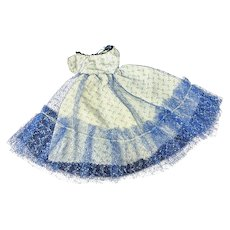 """Jill or other 10"""" Fashion Doll 1950s Lovely Evening Gown Silver Blue Netting"""