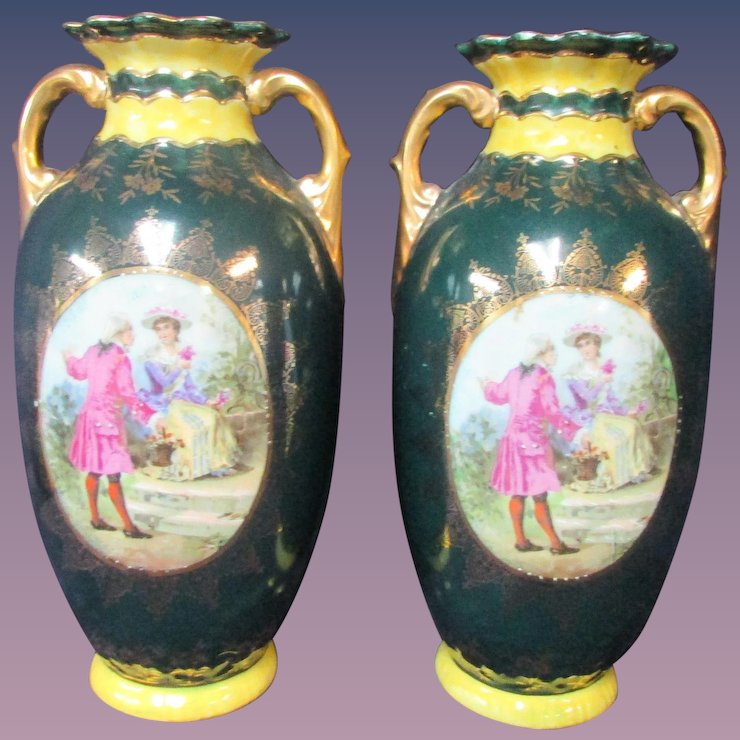 Pair Antique China Vases Dark Green Gold Man Woman 18th Century