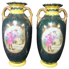 Pair Antique China Vases Dark Green Gold Man Woman 18th Century Courtly Couple