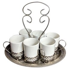 Wedgwood Enoch Coffee Hot Chocolate Espresso Set Silver Plate Carrier China Cups