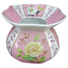 Lovely Pink White Floral Porcelain Cuspidor Spittoon